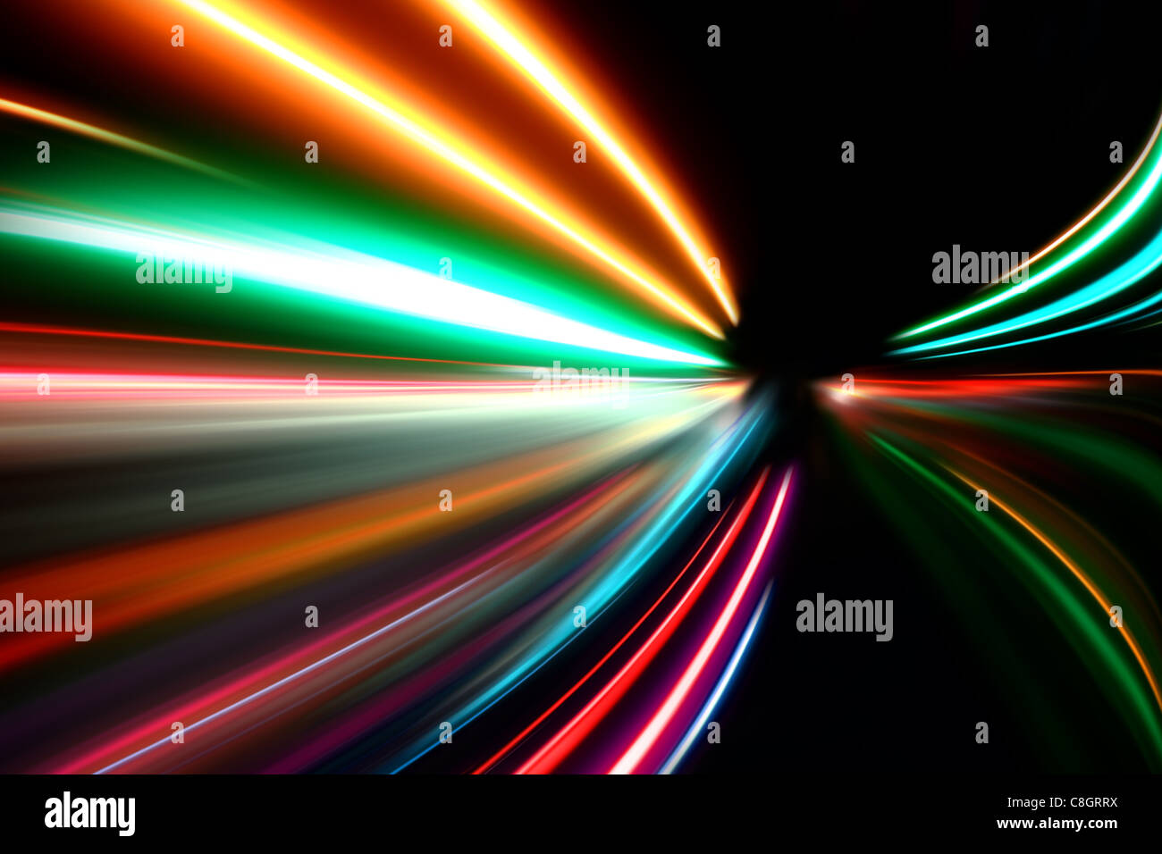 abstract acceleration speed motion on night road - Stock Image