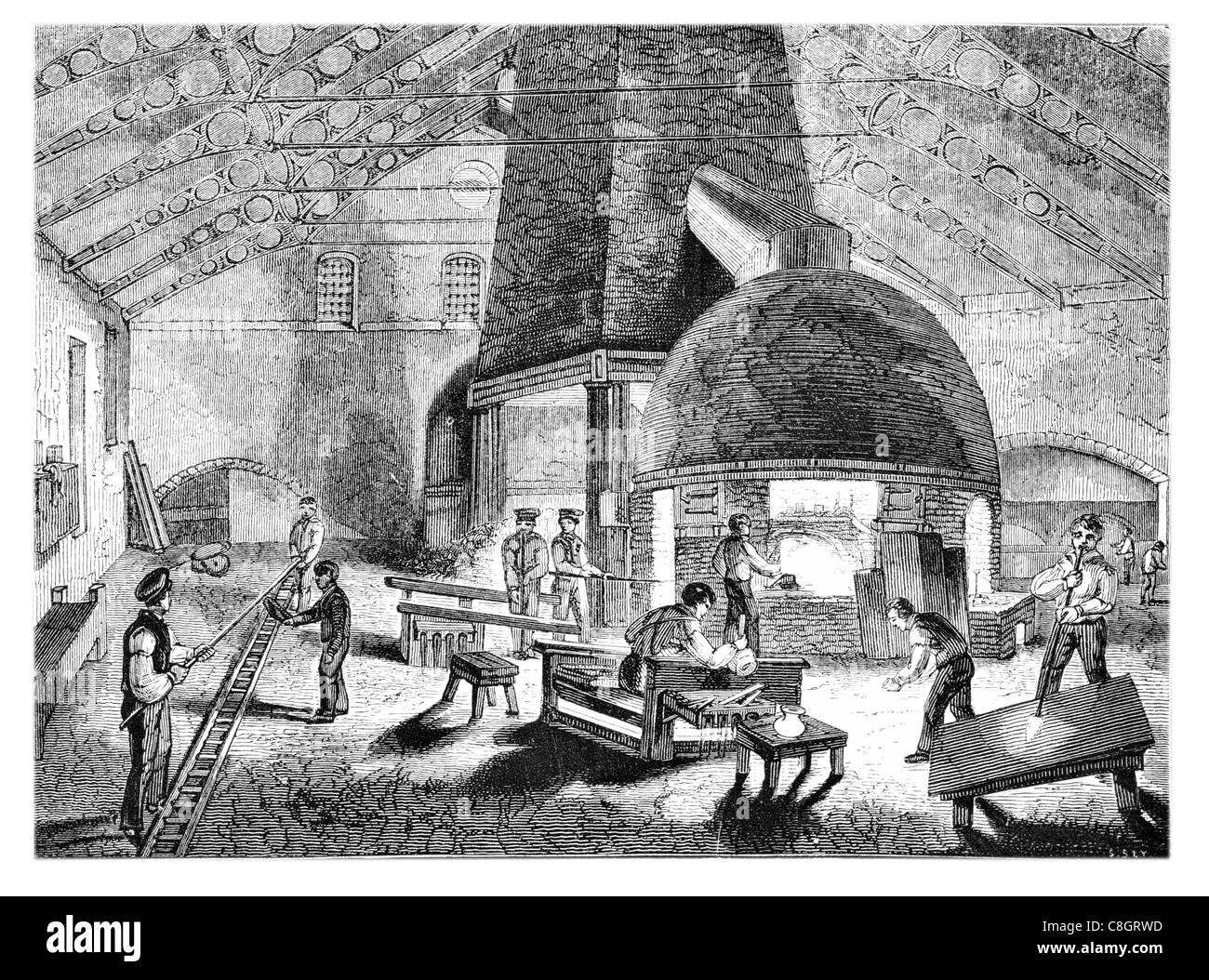 flint glass furnace Industrial Revolution industries industry factory manufacture construction workforce worker - Stock Image