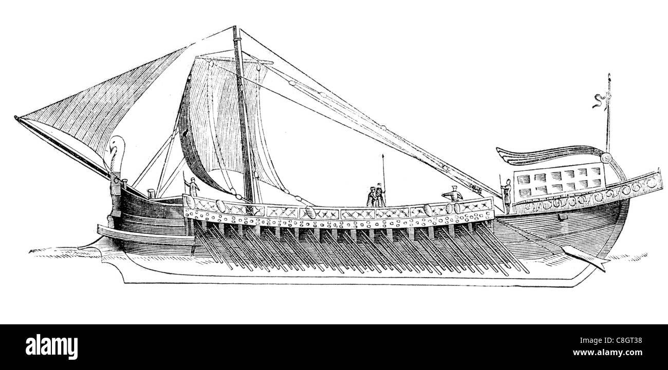 ancient ship Pompeii sail sailing sailor ship ships shipping war marine Naval Navy vessel cargo goods seas sea transport - Stock Image