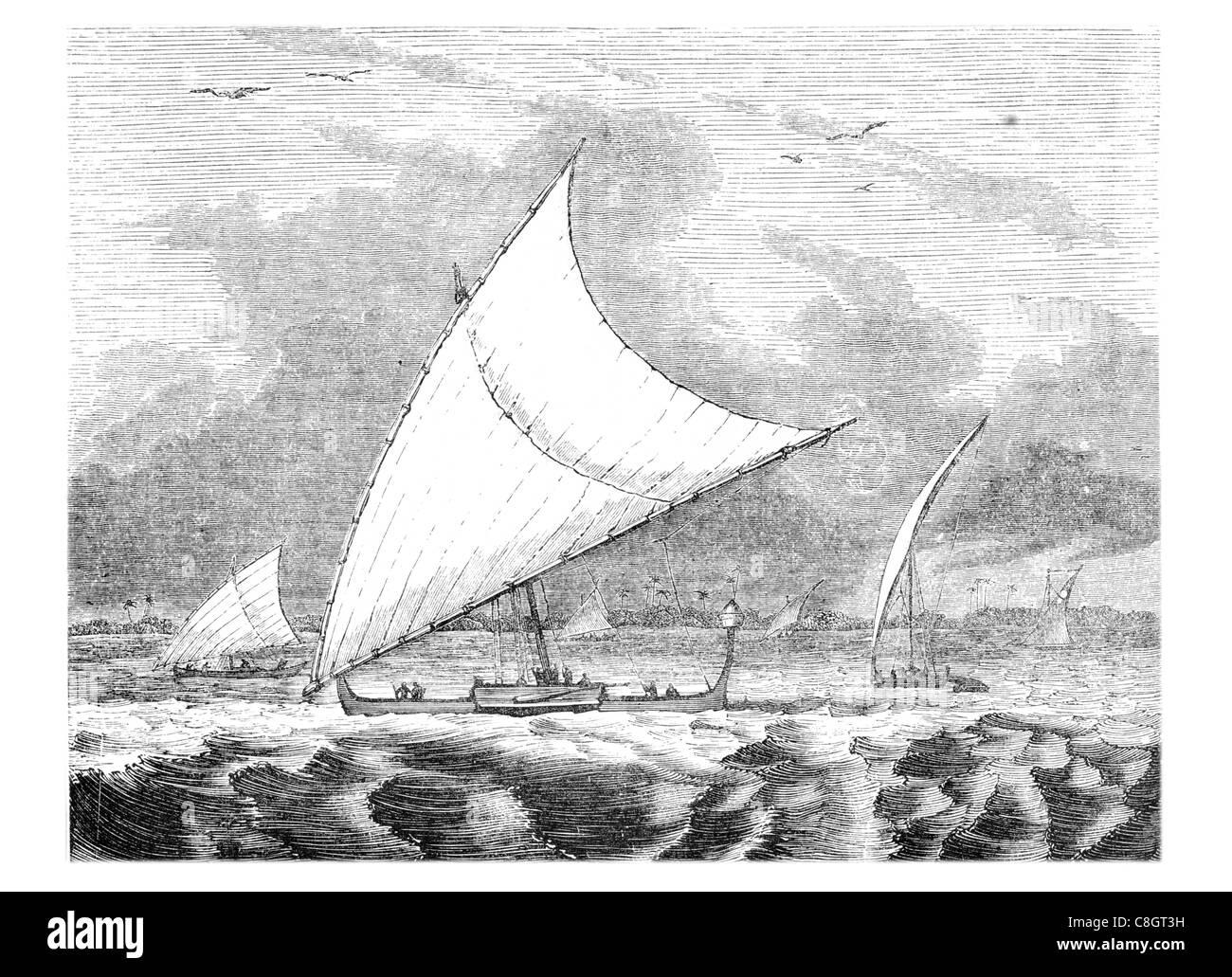 flying proas Ladrone Islands proa prau perahu prahu multihull sailing vessel sail sailing sailor ship ships shipping - Stock Image