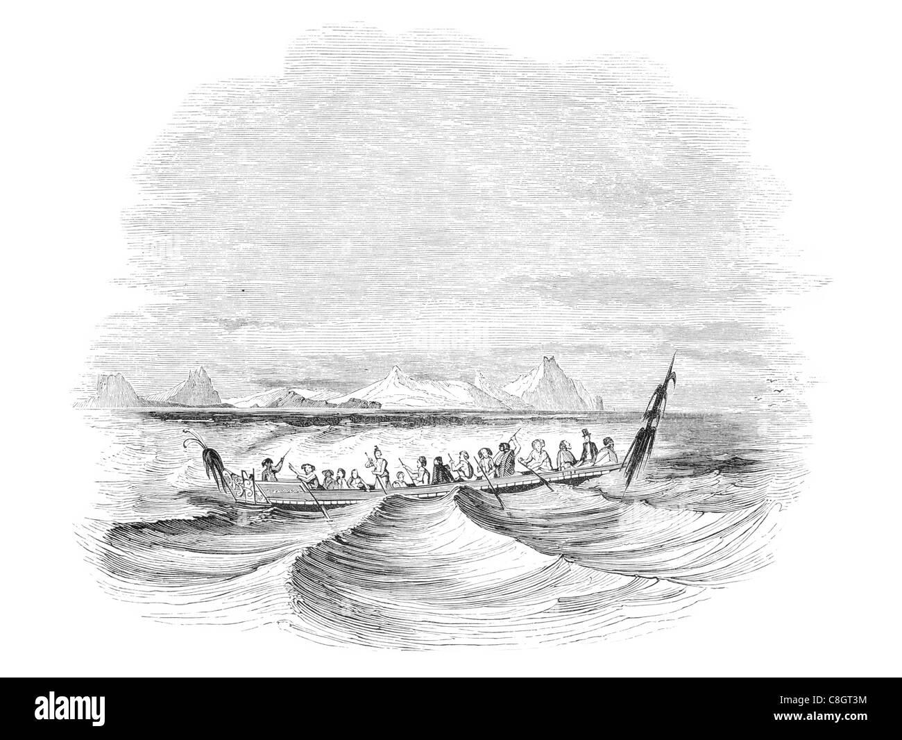 Cape Wangari New Zealand Māori tradition Kurahaupō canoe kayak paddle paddles rowing hull sailor ship ships shipping - Stock Image