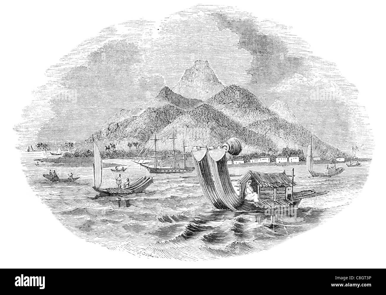 double canoes of Tahiti or Otaheite fishing sailor fisherman sail sailing sailor ship ships shipping marine vessel - Stock Image