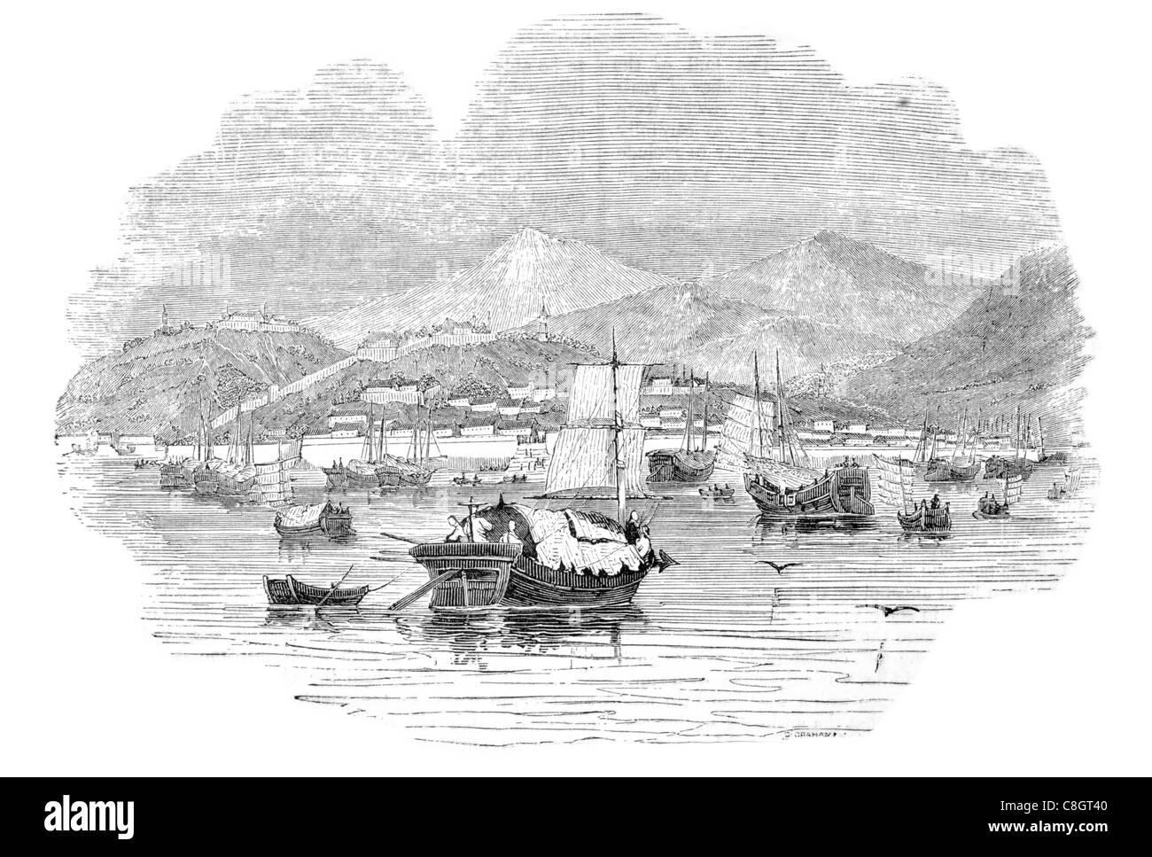 various Chinese vessels at the port of Shang hae shanghai fishing sailor fisherman sail sailing sailor ship ships - Stock Image