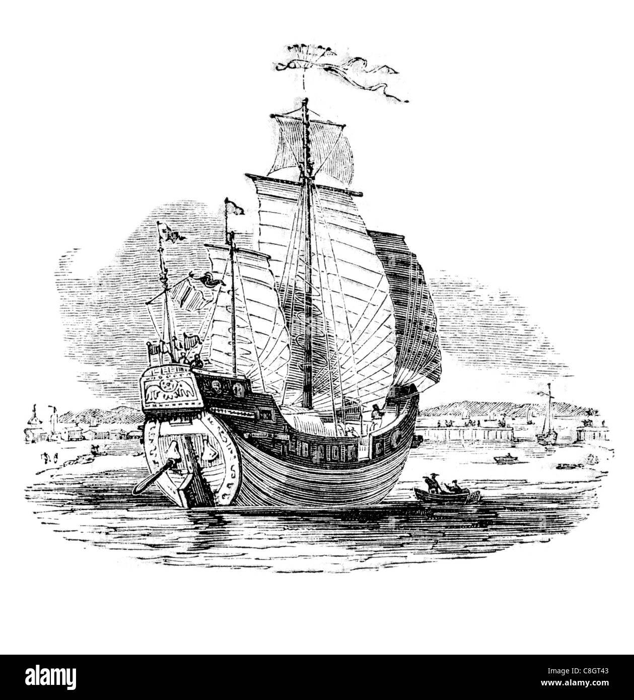 trading Chinese trading junk ancient Chinese sailing vessel Junks Han Dynasty Asia ocean voyage Hong Kong junk-rigged - Stock Image