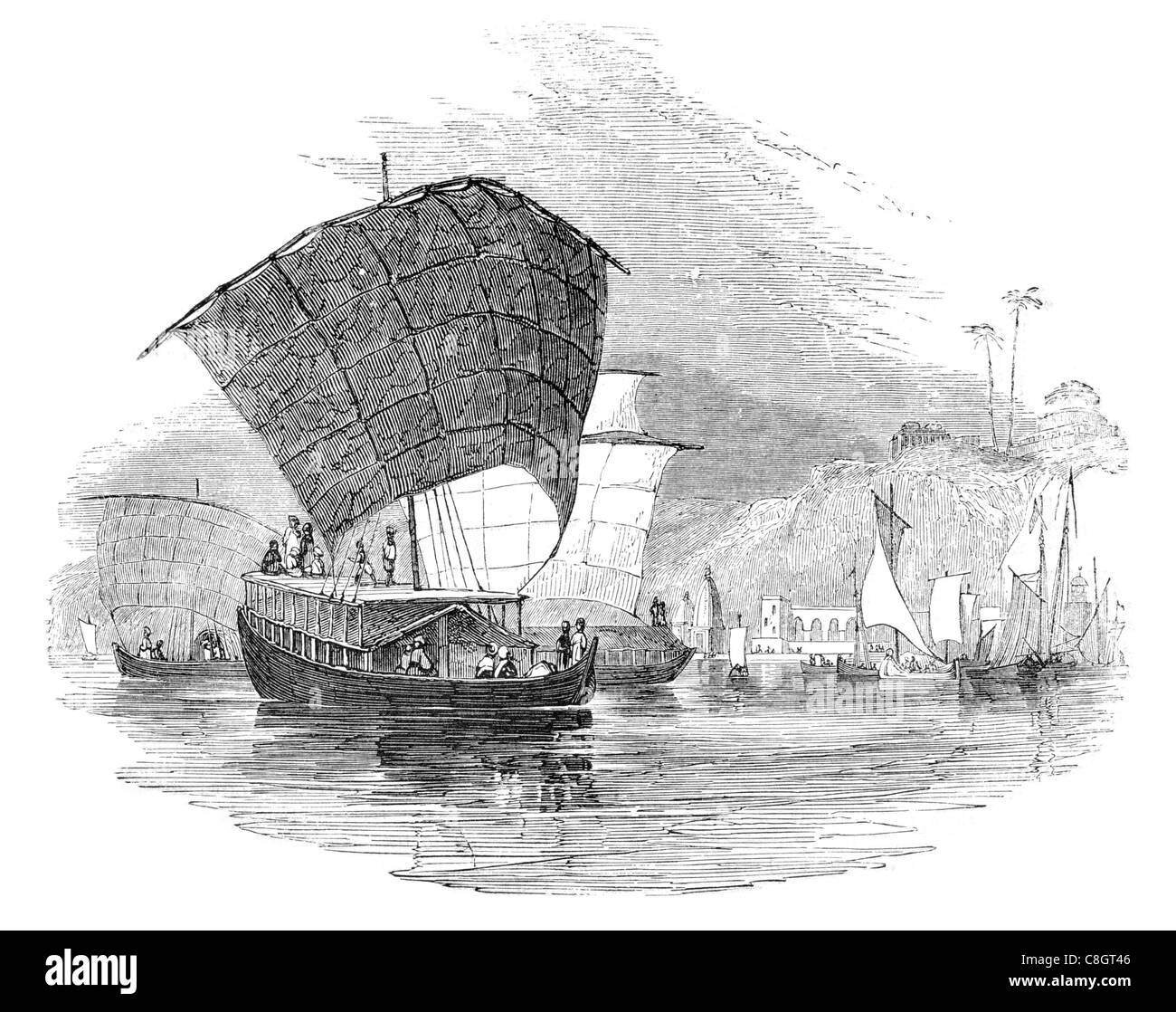 Hindoo boats on the Ganges fishing sailor fisherman sail sailing sailor ship ships shipping marine cargo goods seas - Stock Image