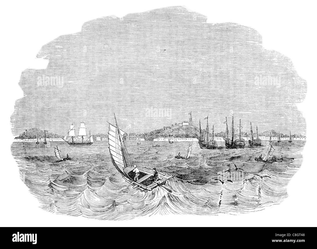 flat sterned boat vessel Singapore fishing sailor fisherman sail sailing sailor ship ships shipping marine cargo - Stock Image