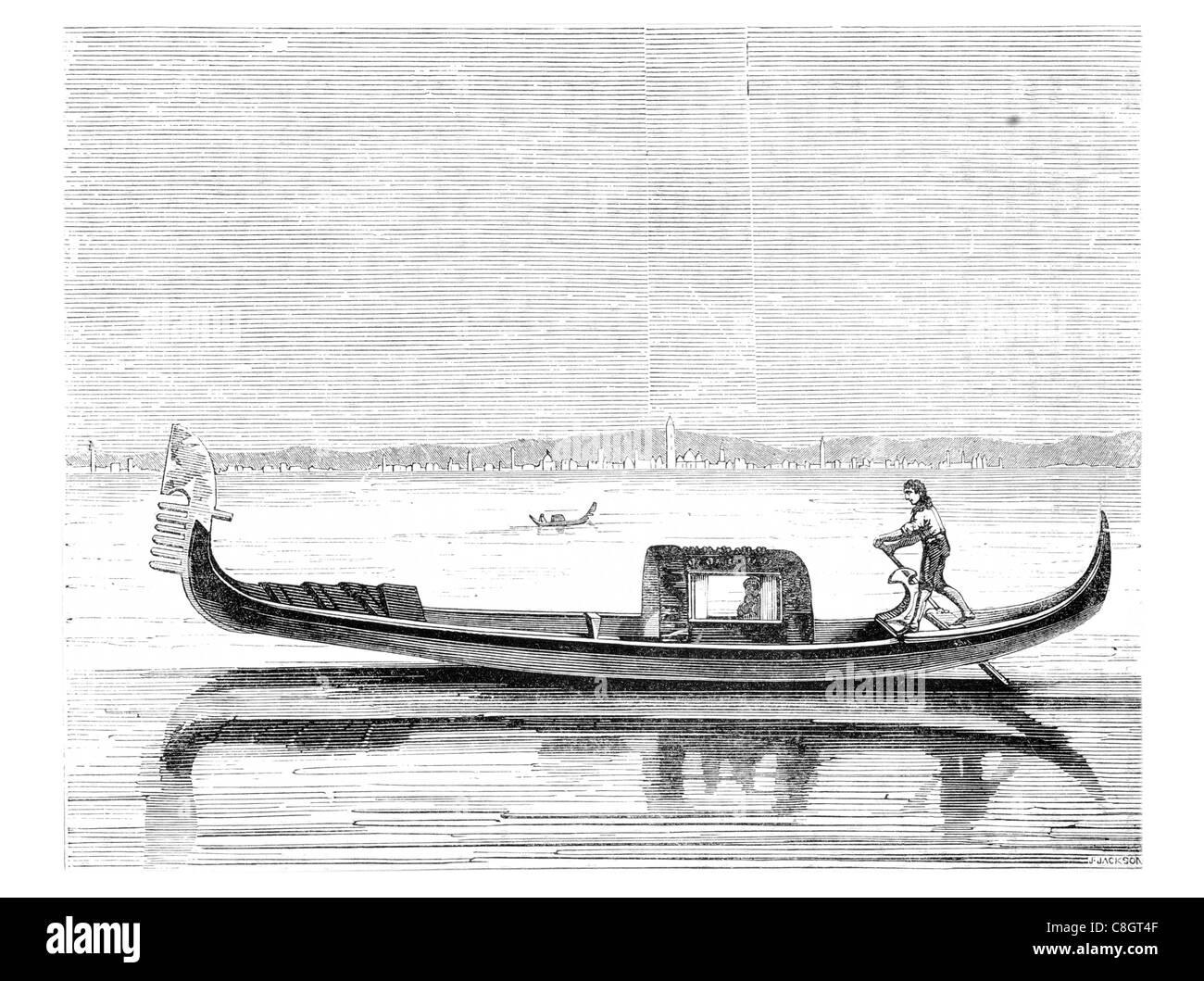 single rower gondola gondolas Venetian rowing boat public transport transportation watercraft ferry Grand Canal - Stock Image