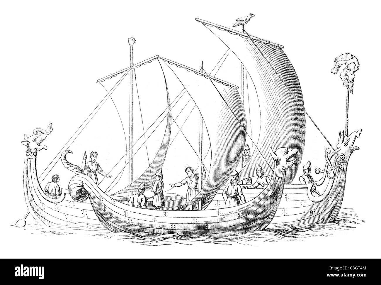 Anglo Saxon Ship sail sailing sailor ships shipping war marine Naval Navy vessel cargo goods seas sea transport - Stock Image