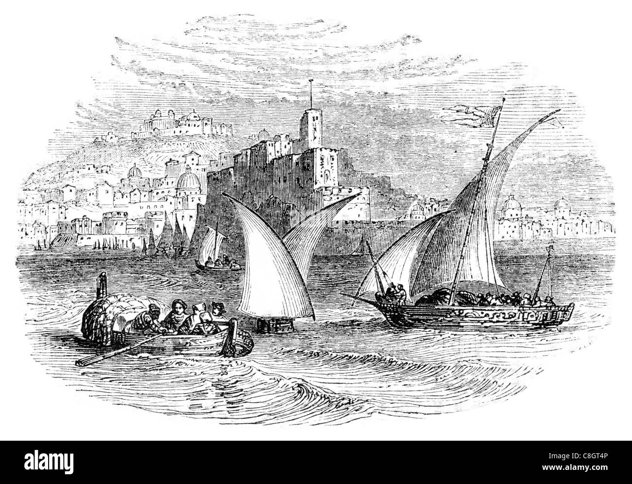 Neapolitan boats Naples fishing sailor fisherman  sail sailing sailor ship ships shipping marine vessel cargo goods - Stock Image