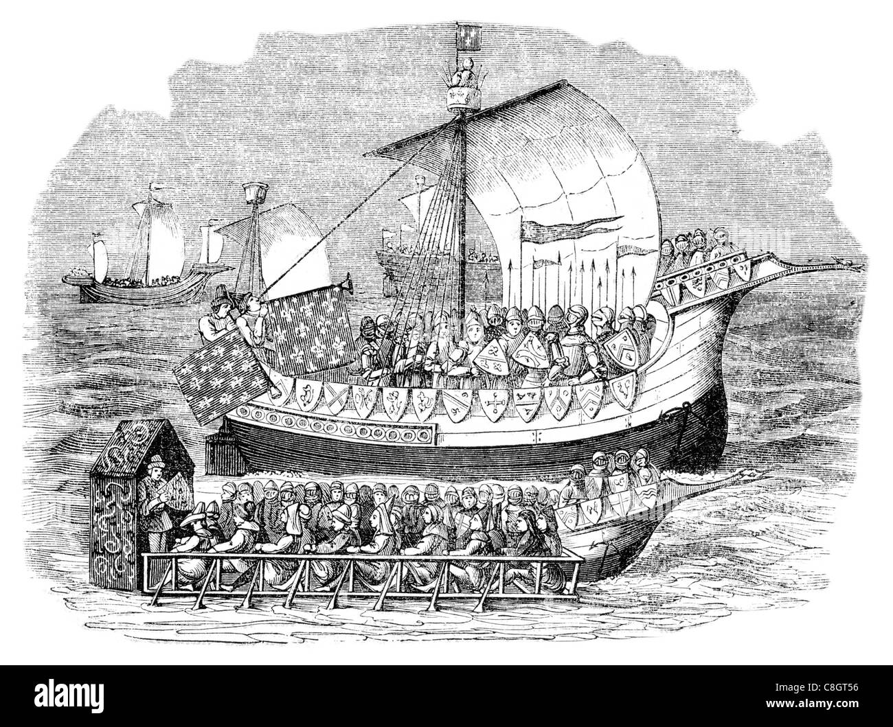 War Galleys of the 15th century sail sailing sailor ship ships shipping war marine Naval Navy vessel cargo goods - Stock Image