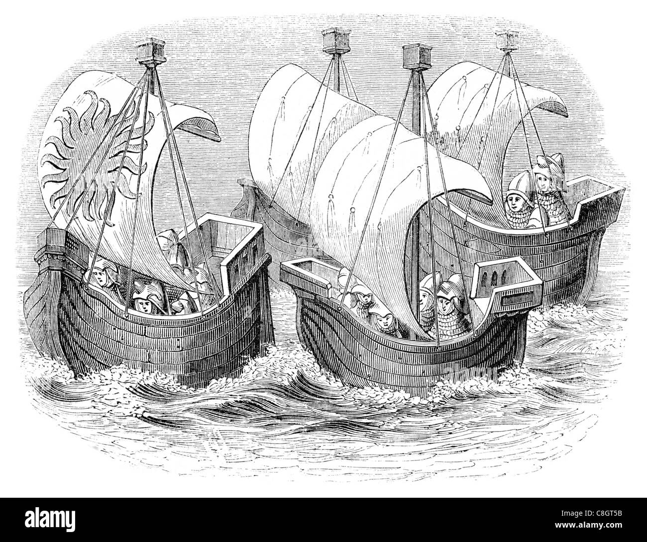 Ships of the time of Richard II sail sailing sailor ship shipping war marine Naval Navy vessel cargo goods seas - Stock Image