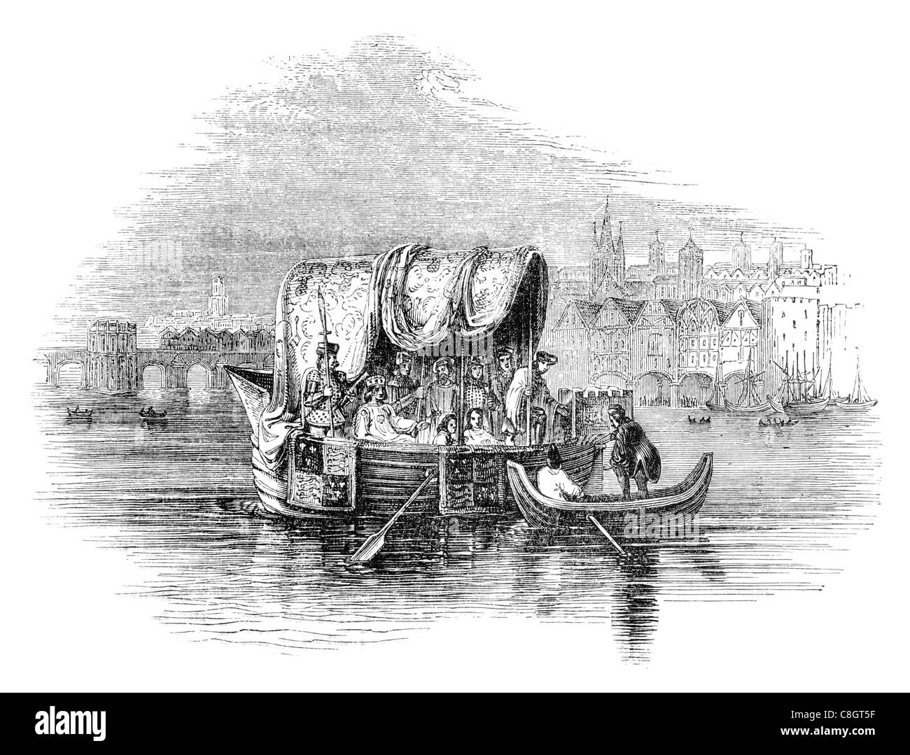 Thames state barge temp Richard II fishing sailor fisherman sail sailing sailor ship ships shipping marine cargo - Stock Image