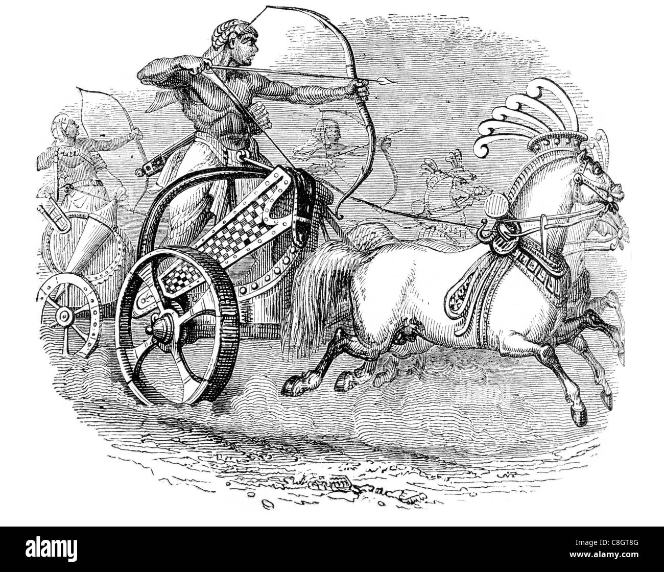 Chariots chariot ancient Egyptian society chariotry King's military force weapon Egypt Hyksos archer bow arrow horse - Stock Image