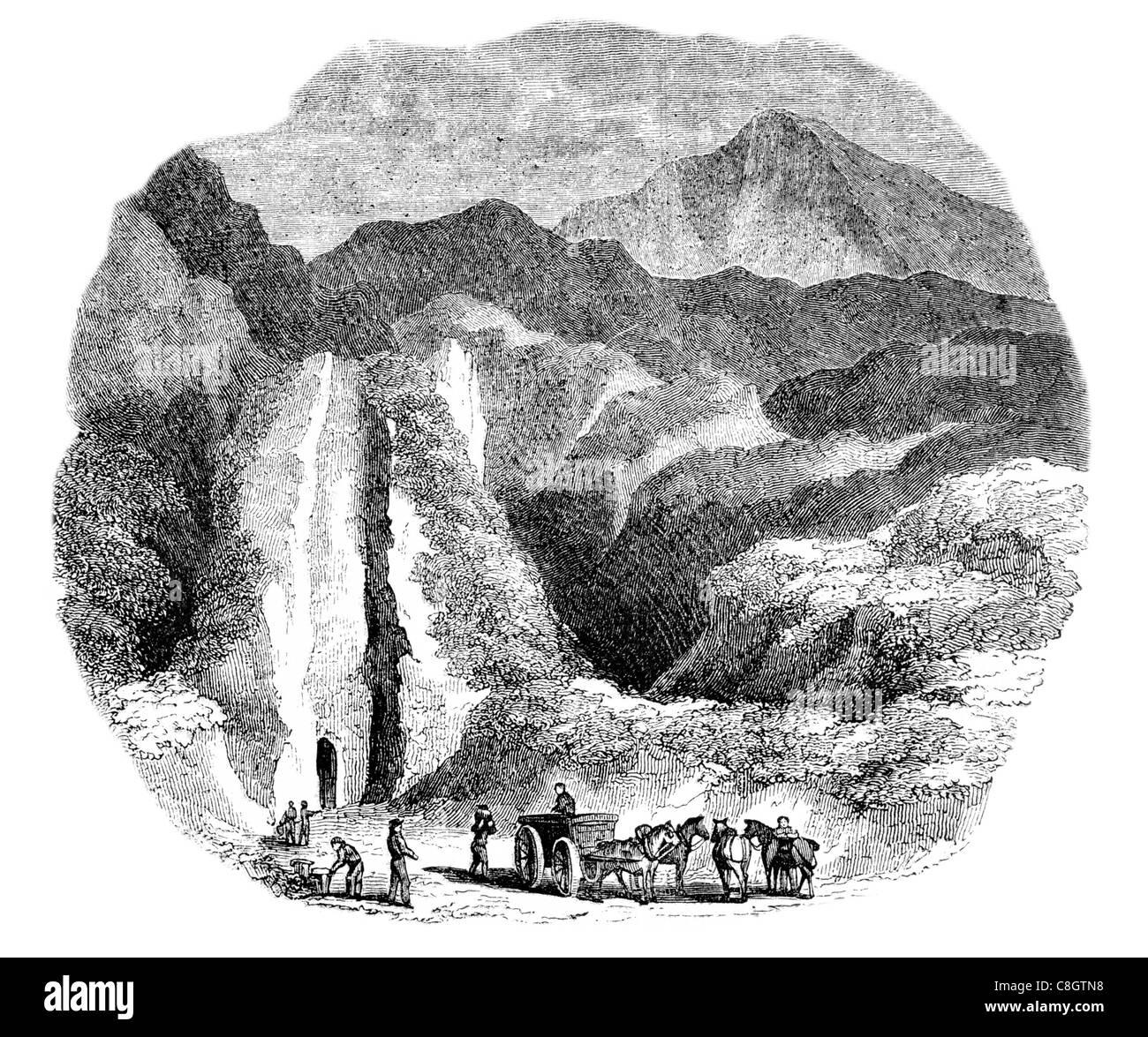ancient Odin Mine miner mining miners lead mine Peak District National Park Castleton England Scheduled Ancient - Stock Image