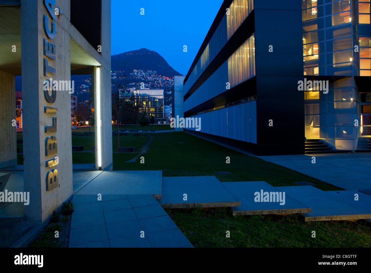 Lugano, university, Switzerland, Europe, canton, Ticino, dusk, light, illumination, building, construction, building, Stock Photo