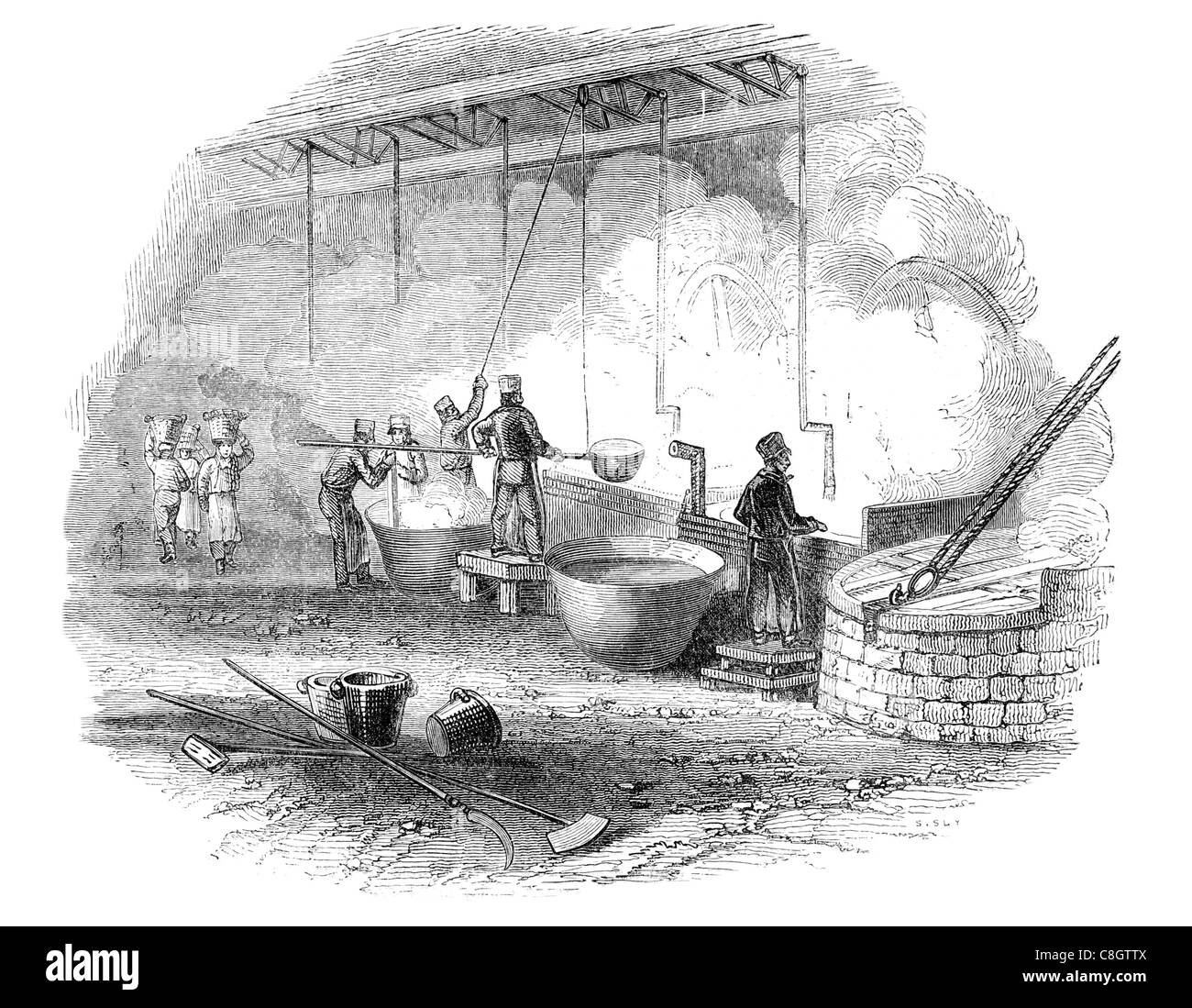 soap boiling coppers copper Industrial Revolution industries industry factory manufacture construction workforce - Stock Image
