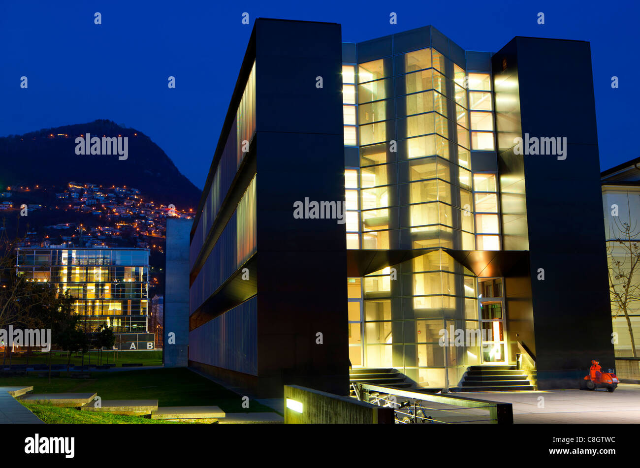 Lugano, university, Switzerland, Europe, canton, Ticino, dusk, light, illumination, building, construction, building, Stock Photo