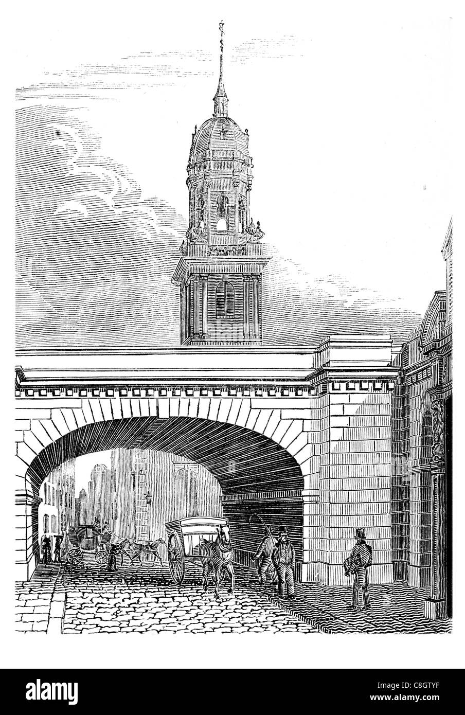 New London Bridge Arch over Thames street tower spire cobbles cobbles horse drawn carriage - Stock Image