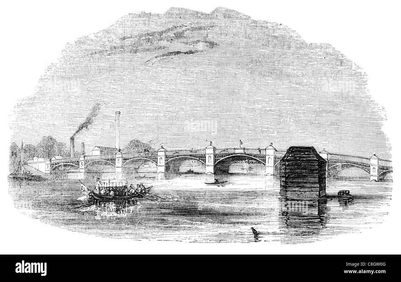 Vauxhall Bridge Grade II listed steel granite deck arch bridge central London River Thames Pimlico bank 1906 - Stock Image