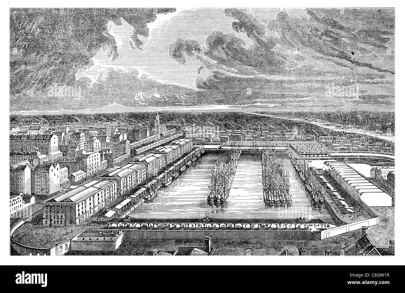 1313 London Docks dock historic Port London commercial traffic merchant sugar plantation Port Dockland sail sailing - Stock Image