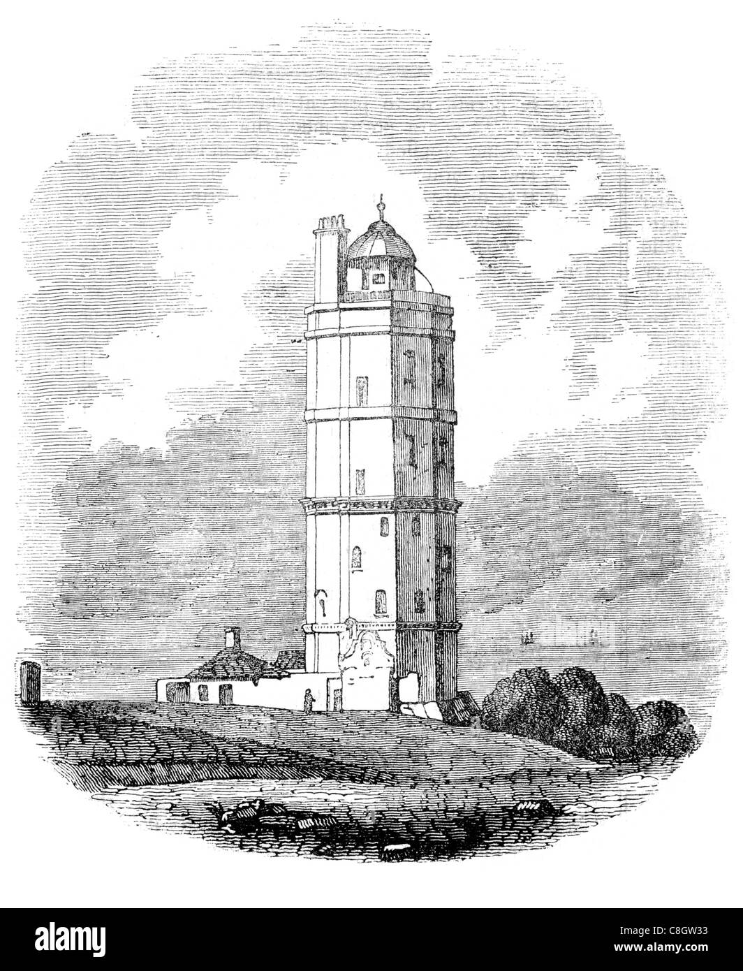 North Foreland lighthouse chalk headland Kent coast southeast England Isle Thanet Goodwin Sands 1636 Sir John Meldrum - Stock Image