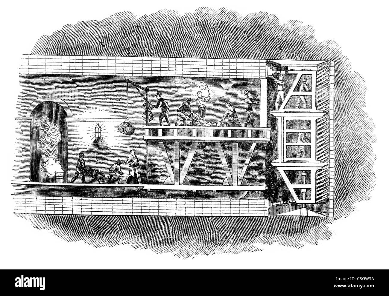 Excavating Excavation River Thames Tunnel underwater London United Kingdom Rotherhithe Wapping  Isambard Brunel - Stock Image