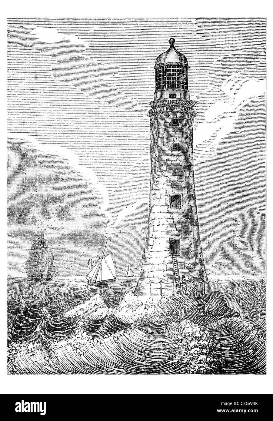 East side Eddystone Lighthouse Rocks Rame Head United Kingdom Devon Precambrian Gneiss concrete s - Stock Image