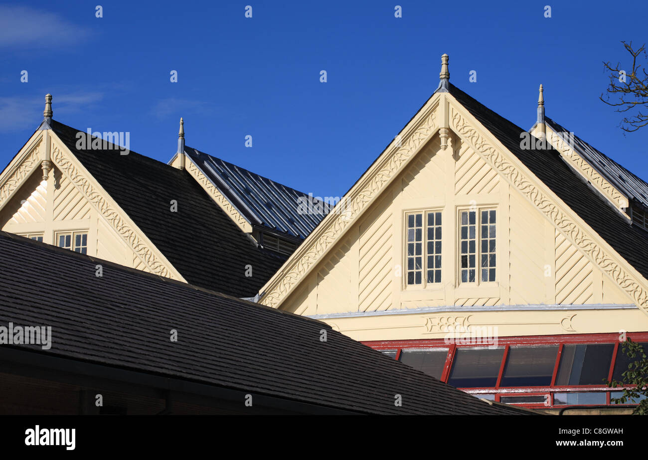 The wooden eaves of the old railway station at Richmond, North Yorkshire, England - Stock Image