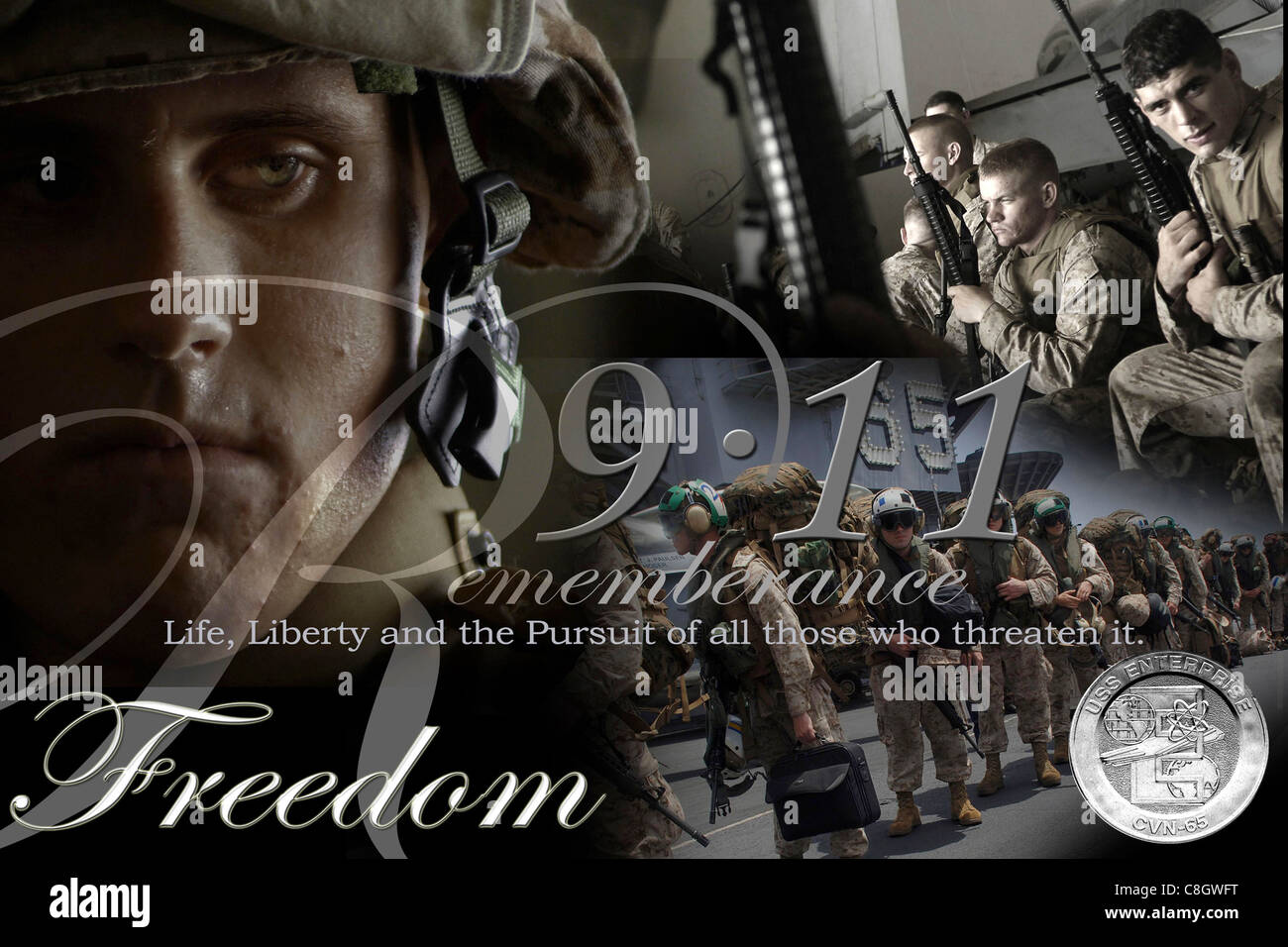 Illustration displays crew members taking the time during Operation Enduring Freedom to remember the tragedy which - Stock Image