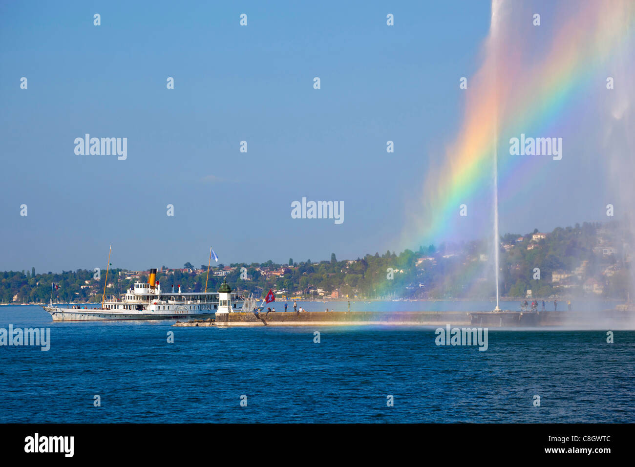 Geneva, Switzerland, Europe, canton Geneva, town, city, harbour, port, entrance, fountain, jet d'eau, Genevan, - Stock Image