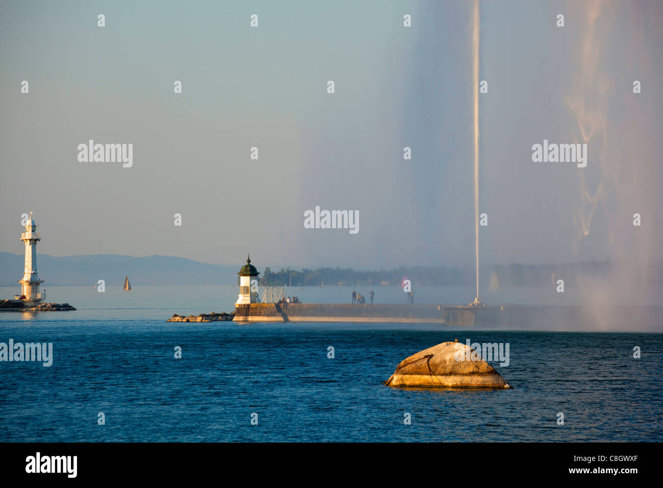 Geneva, Switzerland, Europe, canton Geneva, town, city, harbour, port, entrance, fountain, jet d'eau, Genevan, - Stock Image