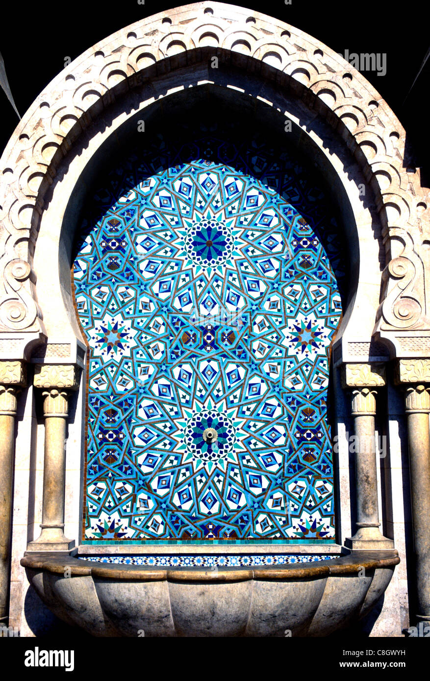 Basin in the courtyard of the Hassan II Mosque Casablanca Morocco. - Stock Image