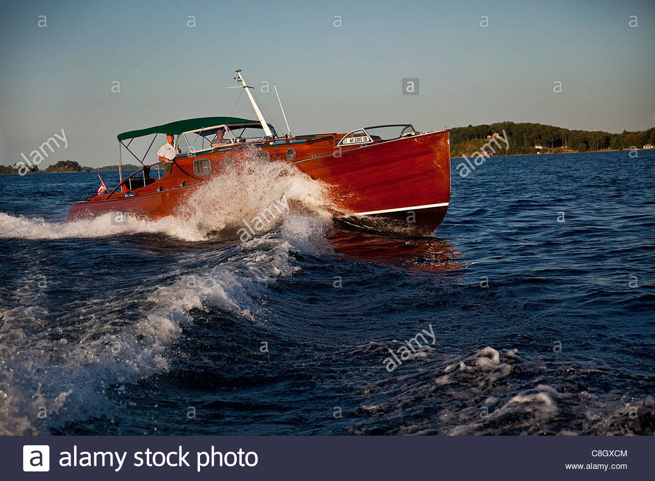 A Zipper boat from the Antique Boat Museum. - Stock Image