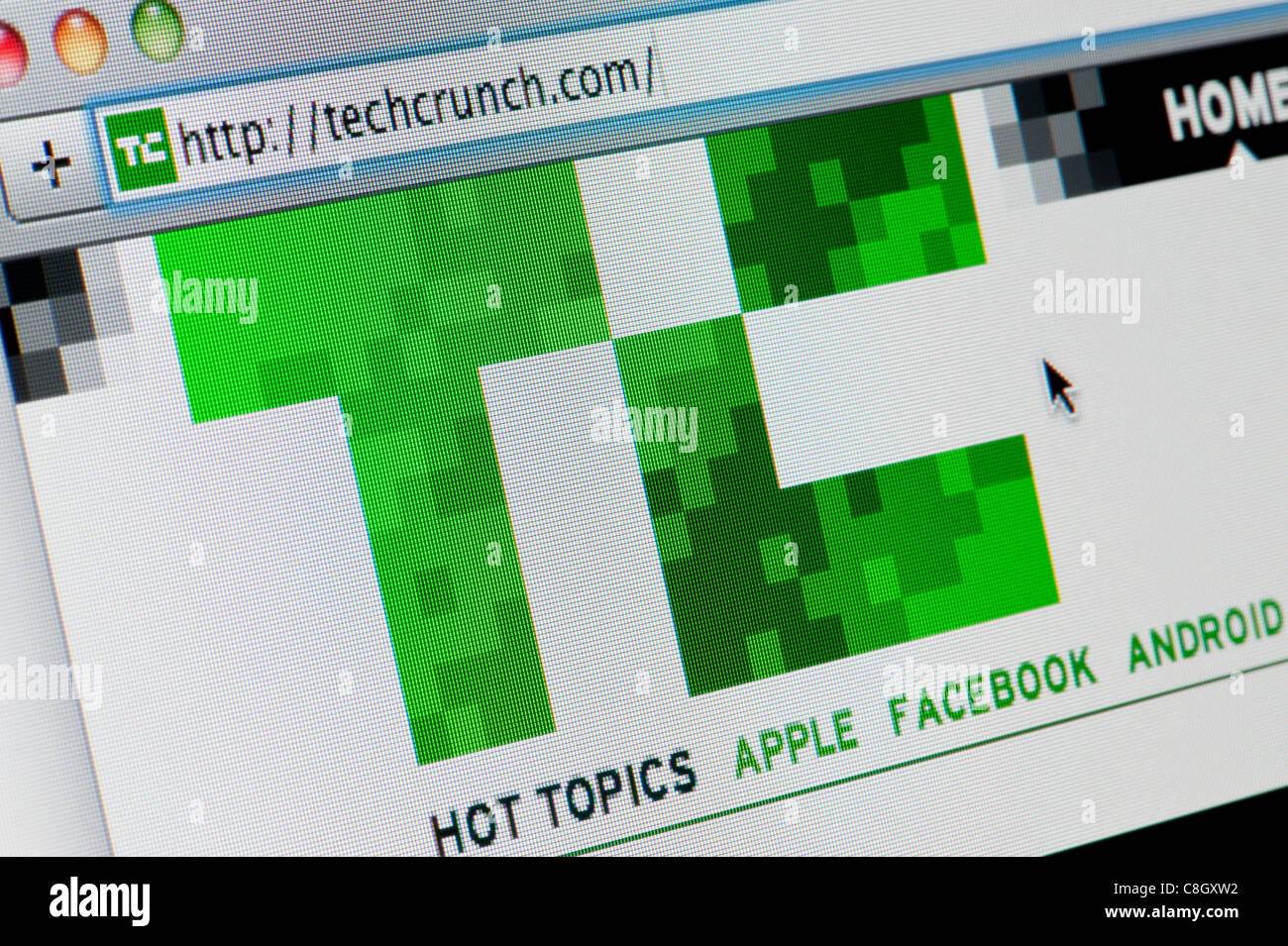 Close up of the Tech Crunch logo as seen on its website. (Editorial use only: ­print, TV, e-book and editorial - Stock Image