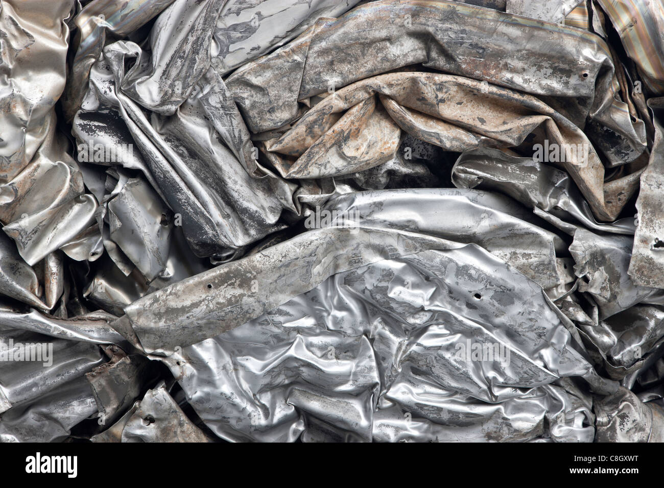 Recycling, compacted stainless steel sheeting, - Stock Image