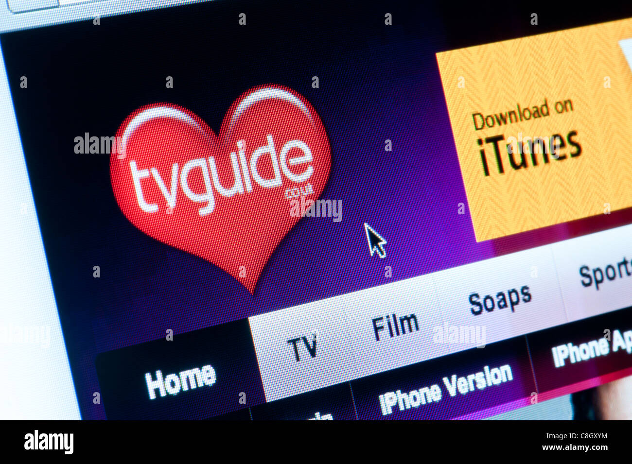 Close up of the TV Guide logo as seen on its website. (Editorial use only: print, TV, e-book and editorial - Stock Image