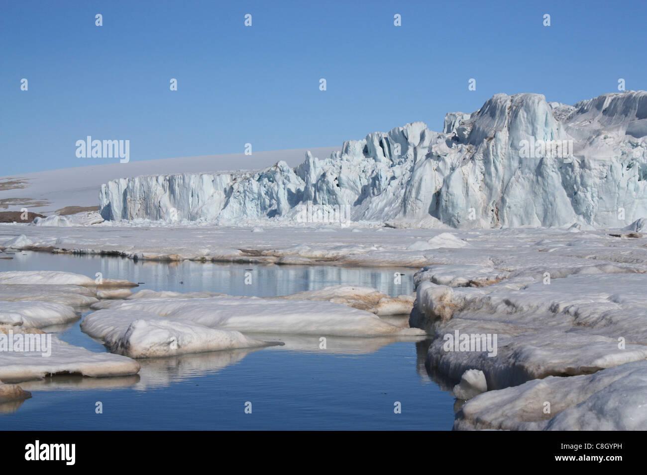 Svalbard, Spitsbergen, Arctic, Norway, Europe, polar region, ice, nature, landscape, island, isle, archipelago, - Stock Image