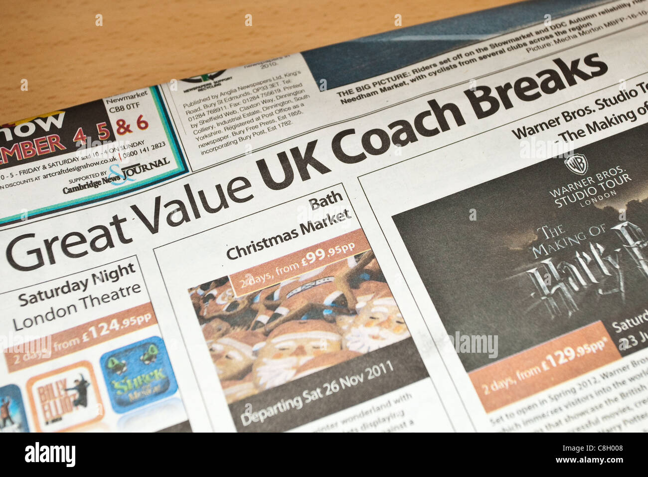 UK coach breaks advertised in a local newspaper; October 2011 - Stock Image