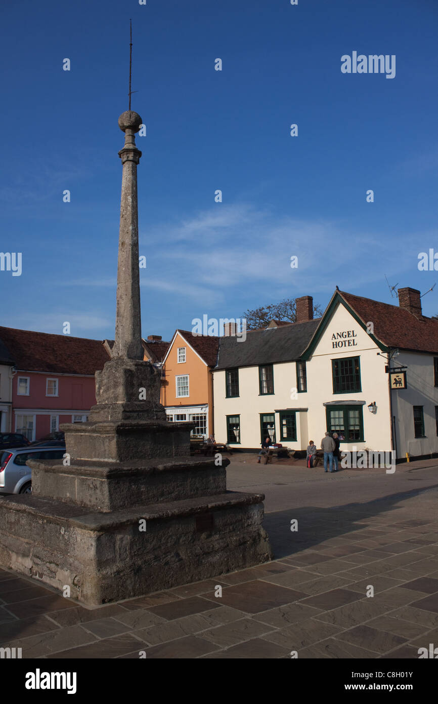 The old, historic Market Place at Lavenham in Suffolk Stock Photo