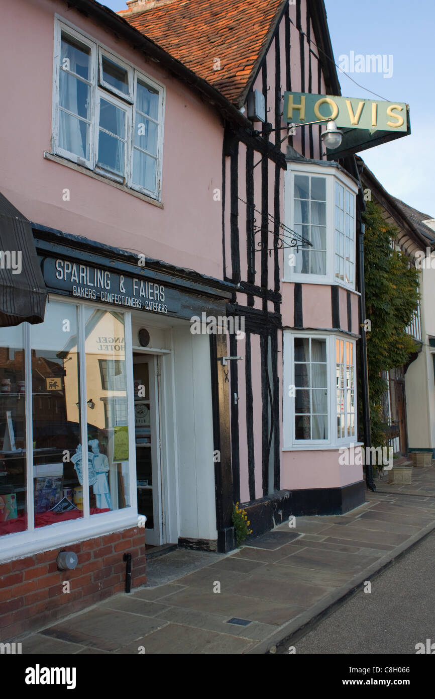 The old bakery, Sparling and Faiers, in the Market Place at Lavenham, Suffolk Stock Photo