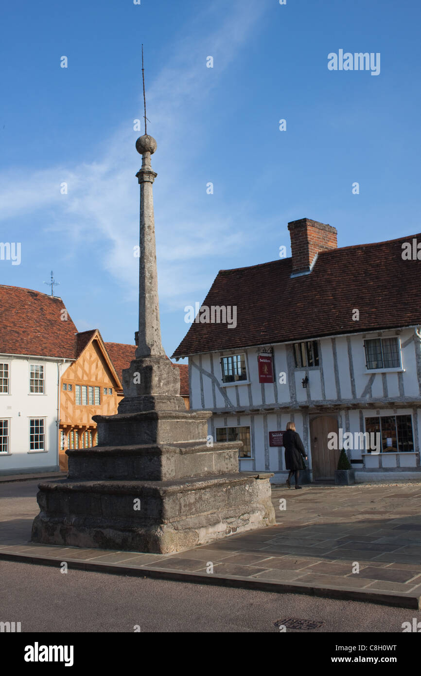 The old, historic Market Place at Lavenham in Suffolk - Stock Image
