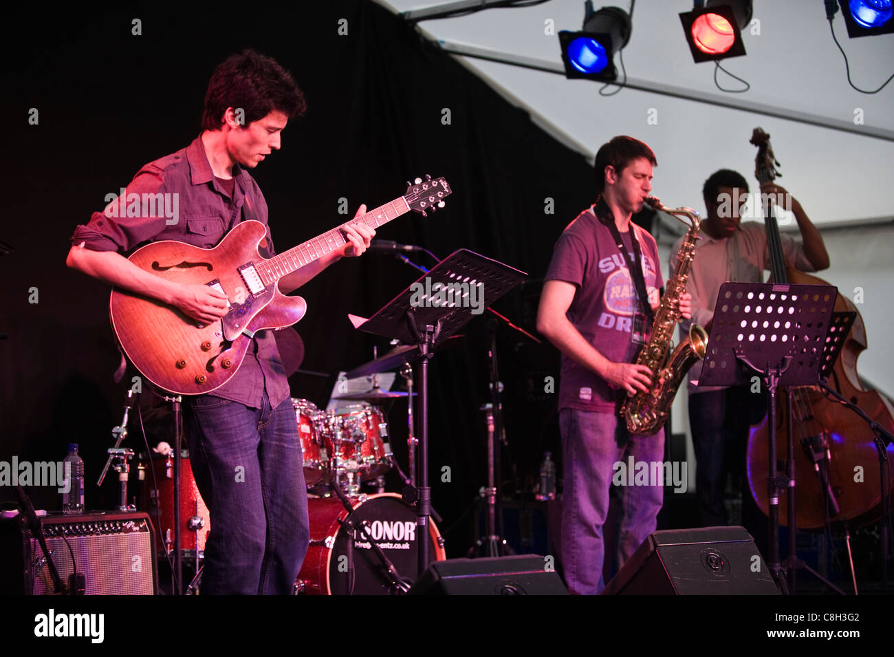 The Outlaw Collective jazz band European debut performance at Brecon Jazz Festival 2011 - Stock Image