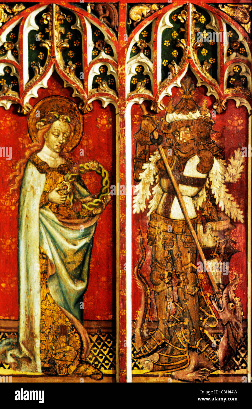 Filby, Norfolk, rood screen, St. Cecilia, St. George and Dragon male saint saints English medieval screens painting - Stock Image