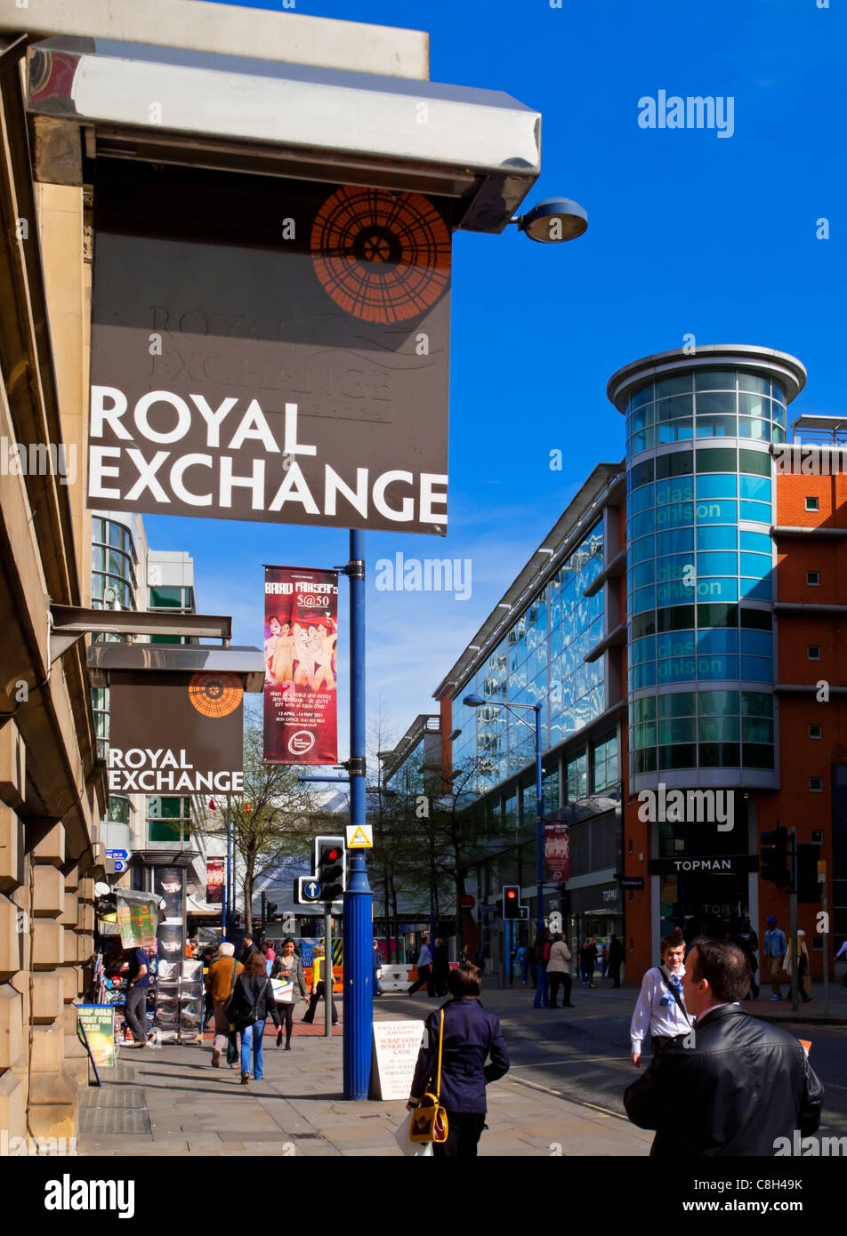 View from the Royal Exchange Theatre towards the Royal Exchange shopping centre in Manchester England UK Stock Photo