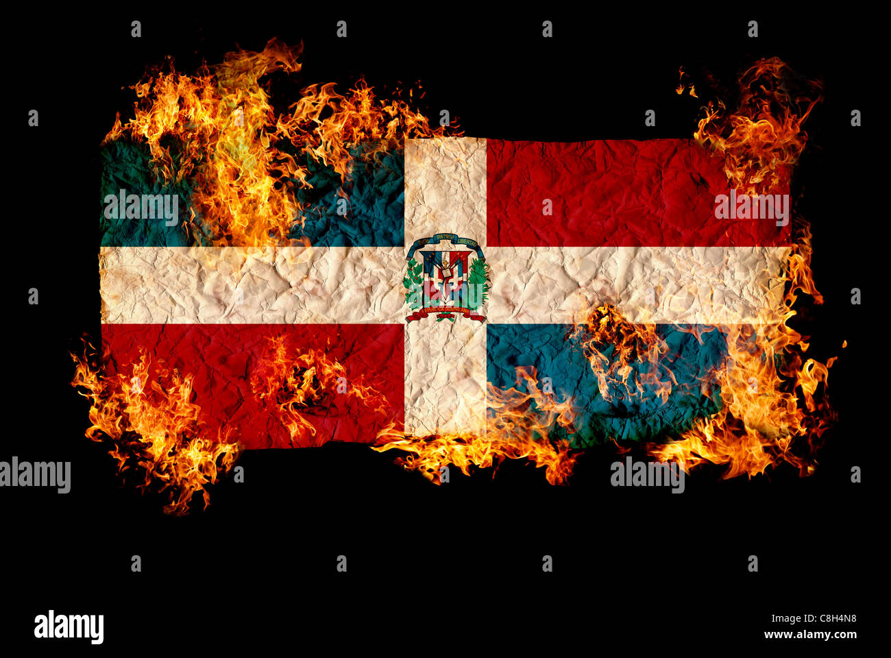 National Symbols And Flag Of Dominican Republic Stock Photo