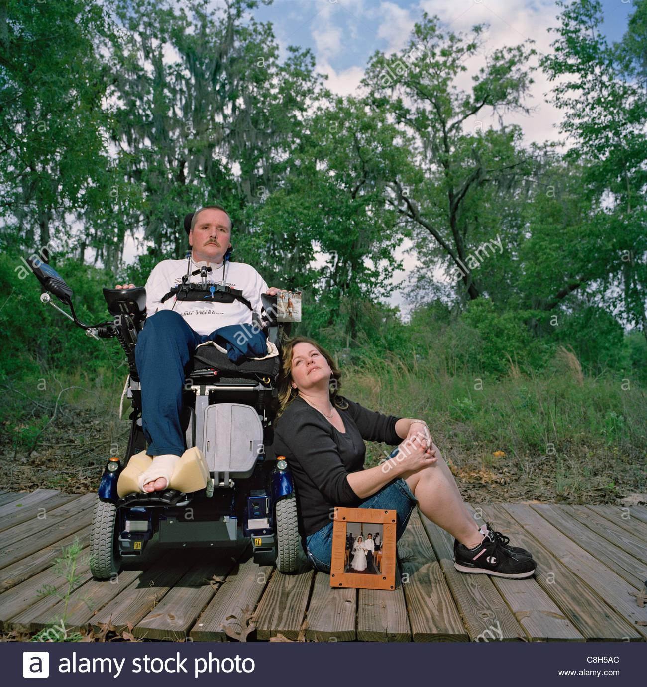 An Iraq war veteran experiences sensations from his amputated limb. - Stock Image