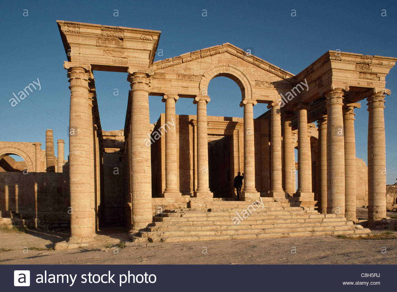 The remains of the ancient Parthian city of Hatra. - Stock Image