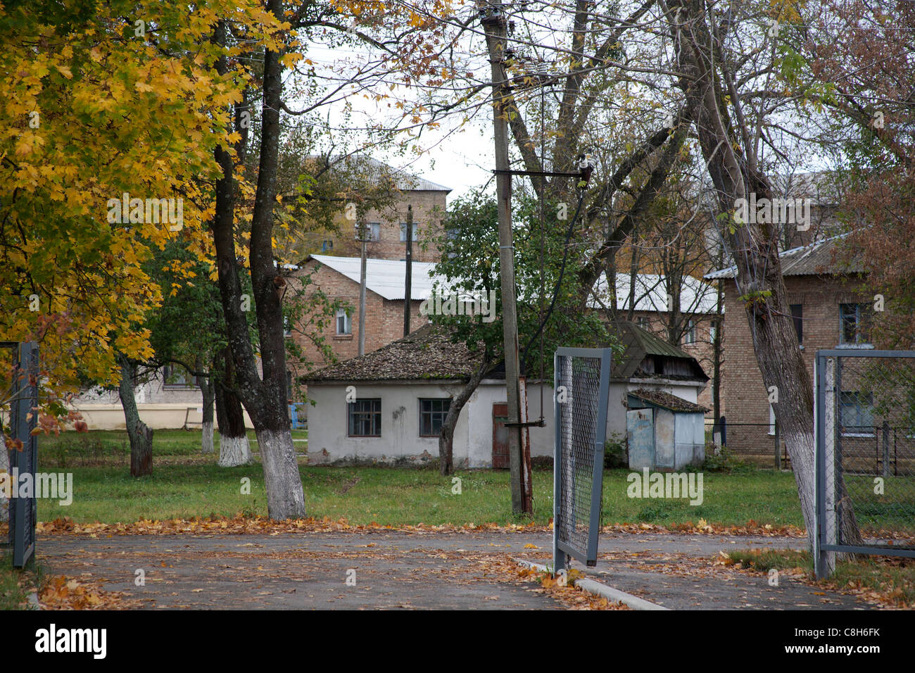 Houses and outbuildings within the Chernobyl 30km exclusion zone, Chernobyl Ukraine - Stock Image