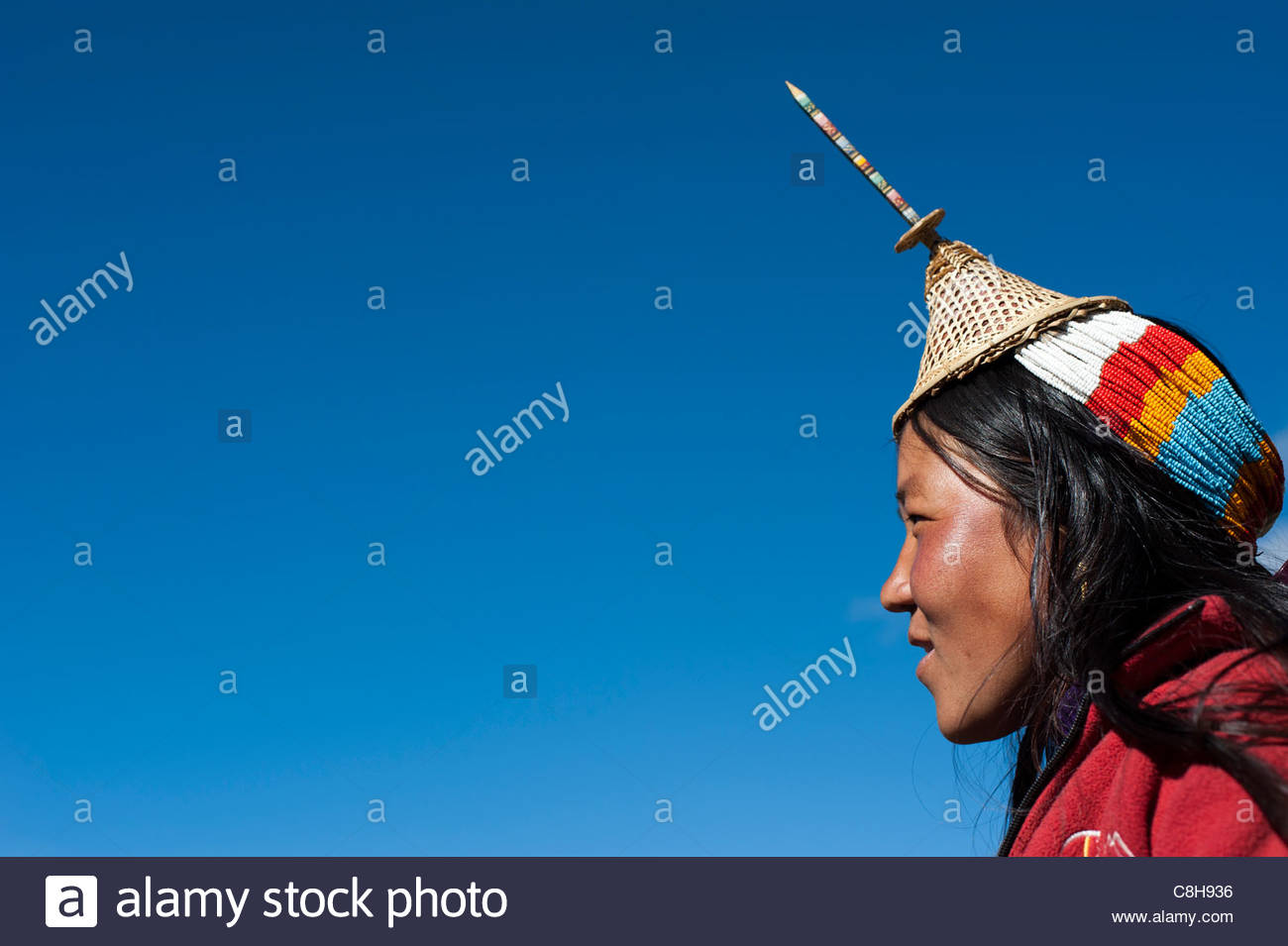 A Layap girl from the remote village of Laya in the Gasa district. - Stock Image