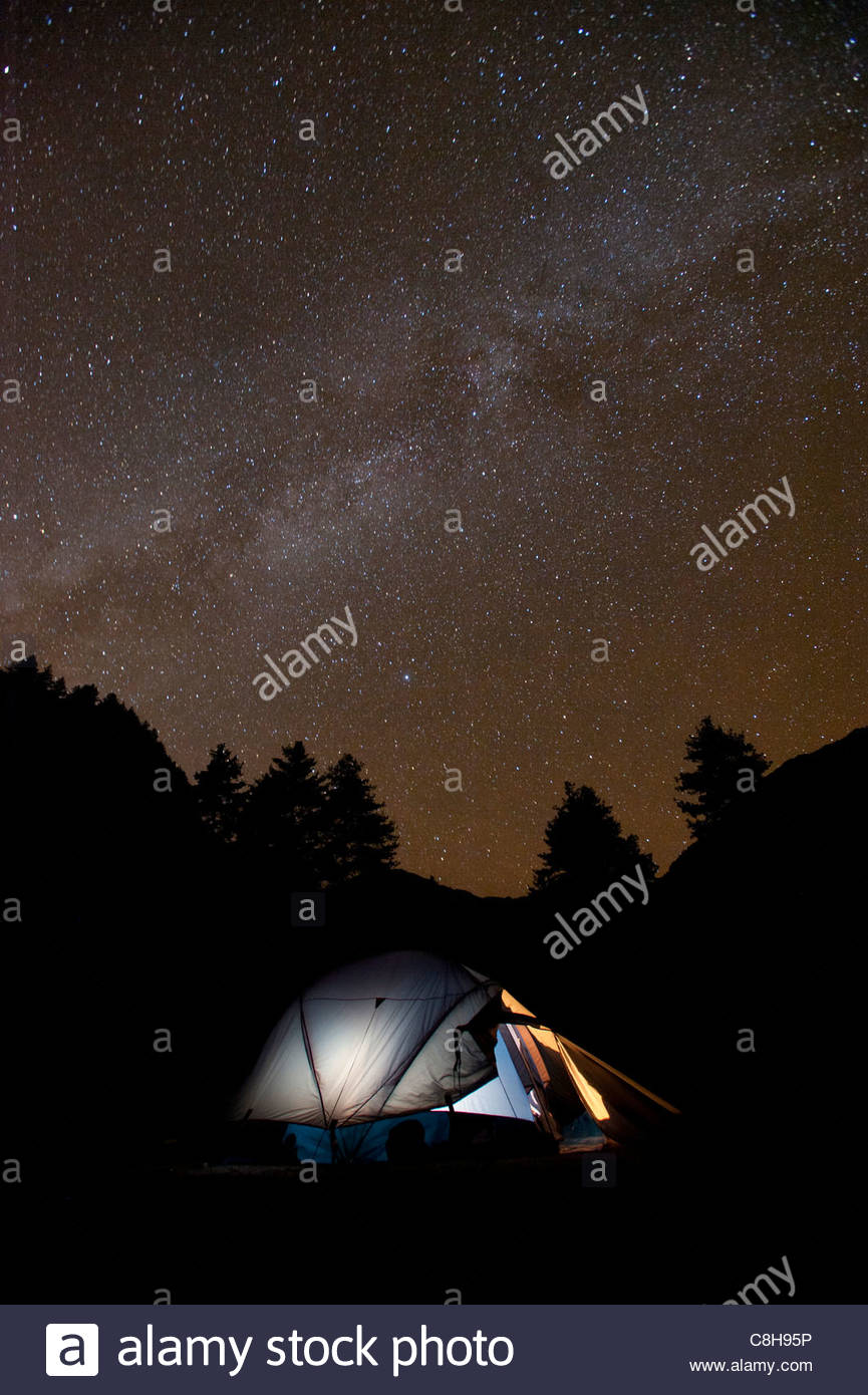 Camped out under a million stars at Sharna Zampa on the Laya-Gasa trek. - Stock Image